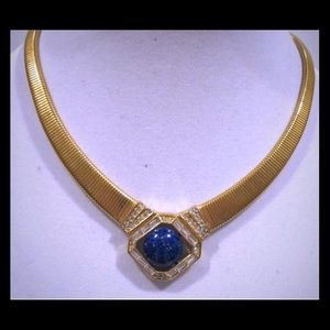 WOW WEE DIOR LAPIS WITH RHINESTONES NECKLACE.